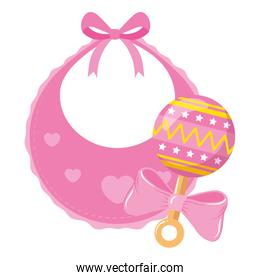 cute baby bib with rattle isolated icon