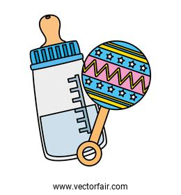 rattle baby with bottle milk isolated icon