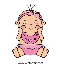 cute little baby girl isolated icon