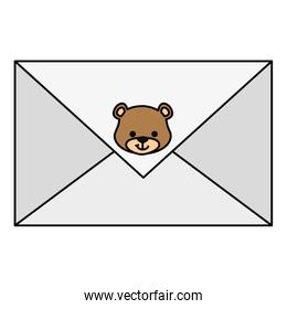 envelope with face of cute teddy bear isolated icon