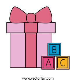 gift box present pink with cubes toy isolated