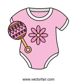 cute clothes baby girl with rattle isolated icon