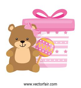 gift box pink with bear and rattle