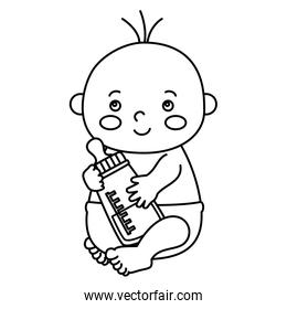 cute little baby boy with bottle milk isolated icon