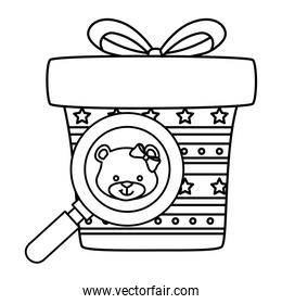face of cute bear female in magnifying glass with gift box