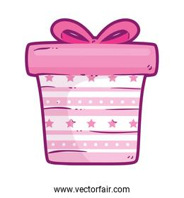 gift box present pink isolated icon