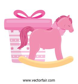 wooden horse toy with gift box pink