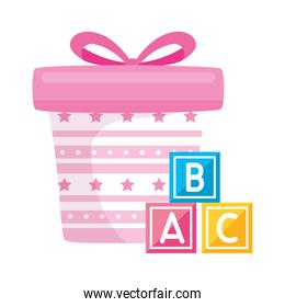 gift box present pink with cubes toys