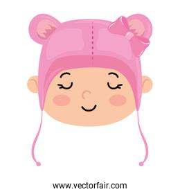 face of cute baby girl with hat with ears