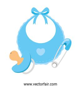 cute baby bib with pacifier and clothespin