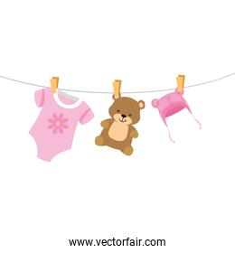 cute clothes baby with bear and hat hanging
