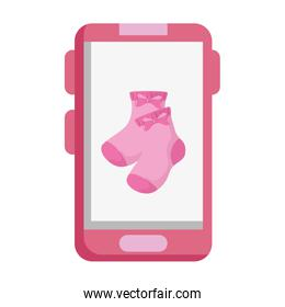 cute socks baby in smartphone isolated icon