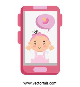 cute little baby girl in smartphone isolated icon
