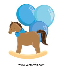 wooden horse toy with balloons helium isolated icon