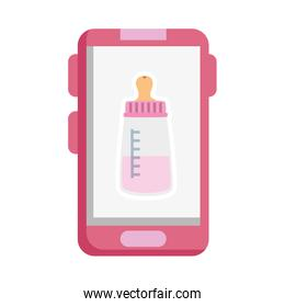 baby bottle milk in smartphone isolated icon