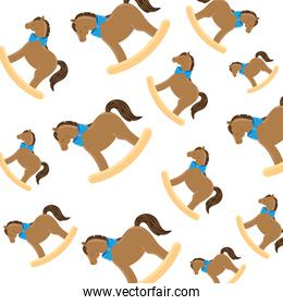 background of wooden horses toys