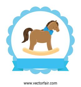 wooden horse toy in lace frame isolated icon