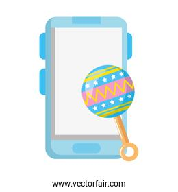 rattle baby toy with smartphone isolated icon