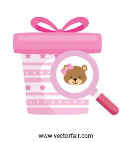 gift box present pink with magnifying glass