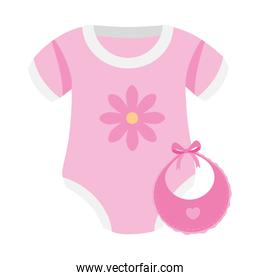 cute clothes baby girl with bib isolated icon