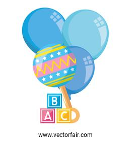 rattle baby with cubes toy and balloons helium