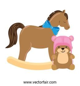 wooden horse toy with teddy bear isolated icon