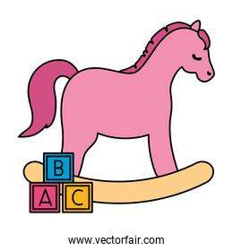 wooden horse toy pink with cubes toy isolated icon