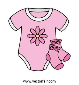 cute clothes baby girl with socks isolated icon