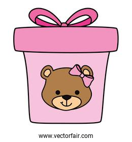 gift box present pink with face of bear isolated icon