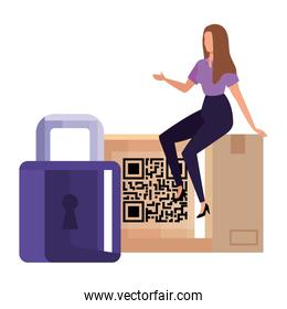businesswoman with qr code in box and padlock