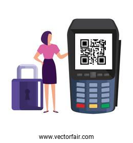 scan code qr in dataphone with businesswoman and padlock