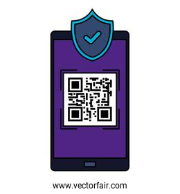 smartphone device with scan code qr and shield
