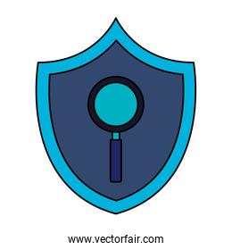 magnifying glass in shield isolated icon