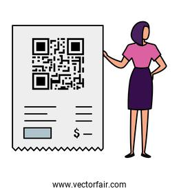 businesswoman with code qr isolated icon
