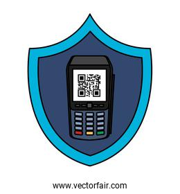dataphone with scan code qr in shield