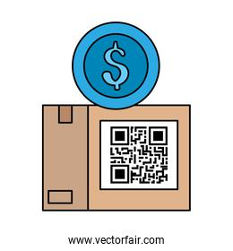 code qr in box with coin isolated icon