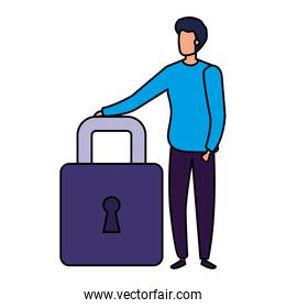 businessman elegant with padlock isolated icon