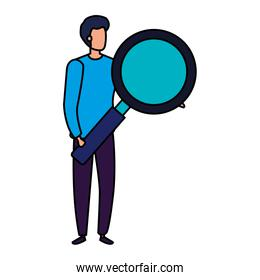 businessman with magnifying glass isolated icon