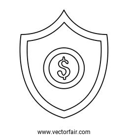 coin dollar in shield isolated icon