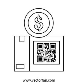 code qr in box with coin isolated design