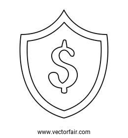 shield with symbol dollar isolated icon