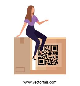 businesswoman with qr code in box isolated icon