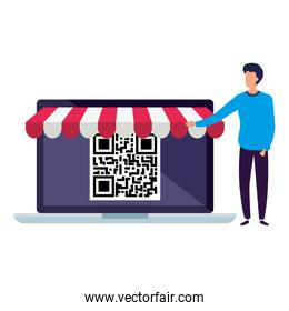 code qr in laptop with businessman