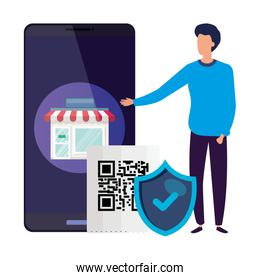 businessman with code qr and icons