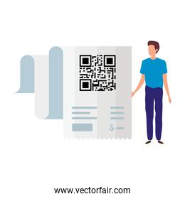 businessman with code qr in voucher paper