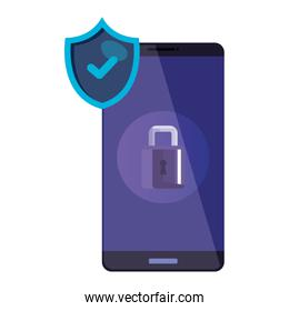 smartphone with padlock and shield