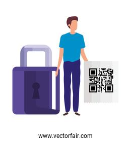 businessman with padlock and code qr
