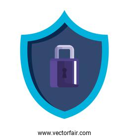 shield with padlock isolated icon