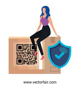 businesswoman with qr code in box and shield