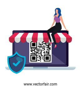 code qr in laptop with shield and businesswoman